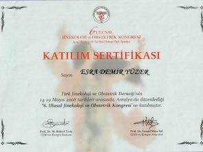 jinekoloji ve obstetrik katılım sertifikası